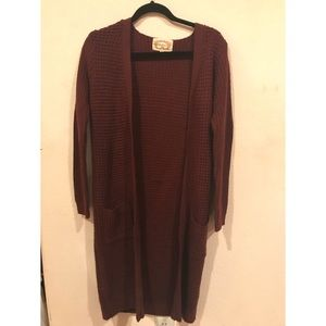 Burgundy Long Knit Cardigan Sweater